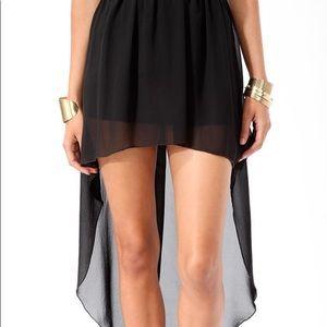 Black Chiffon High Low Skirt